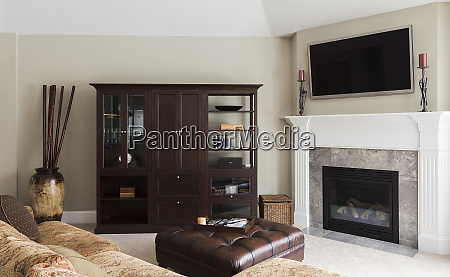 sofa television and cabinets in modern