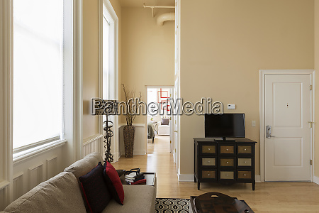 modern living room and corridor