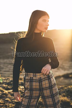 portrait of fashionable teenage girl wearing