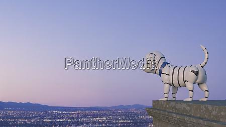 robot dog looking at skyline at