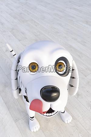 robot dog looking at camera 3d