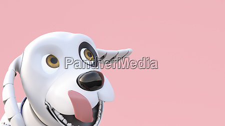 portrait of a robot dog 3d