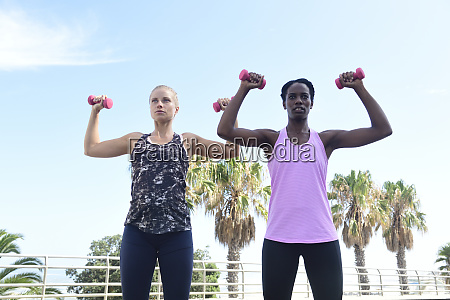 two women doing fitness exercises with
