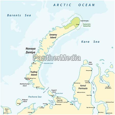 karte des archipels nova zemlya im