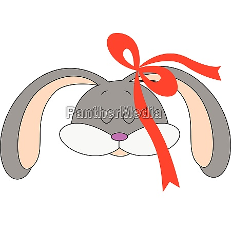 girl grey rabbit with red head