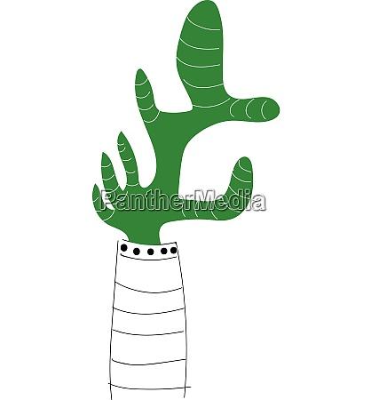green cactus in flower pot illustration