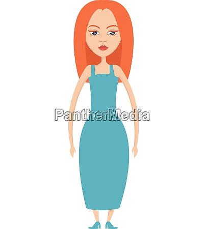 girl with orange hair illustration vector