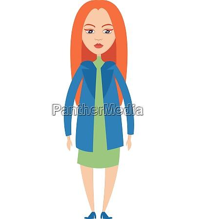mad girl illustration vector on white