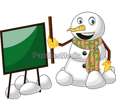 snowman with blackboard illustration vector on