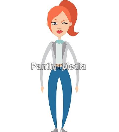 winking girl illustration vector on white