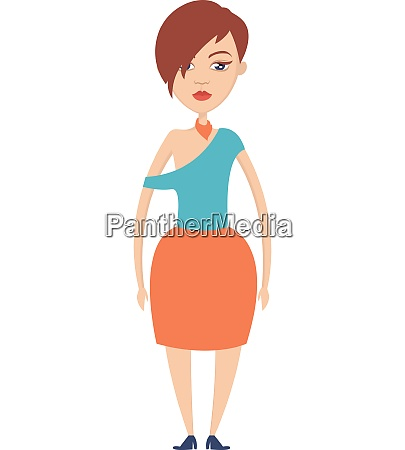 girl with blue shoes illustration vector