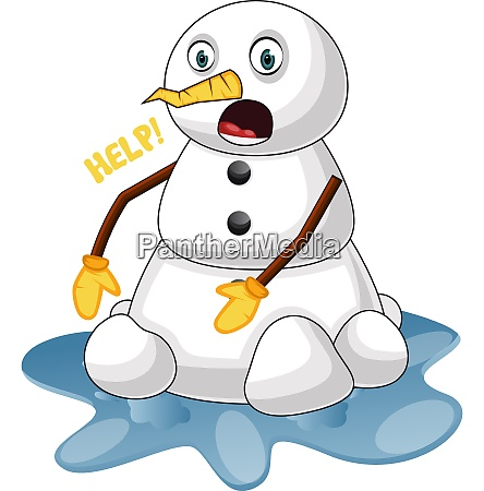 melting snowman illustration vector on white