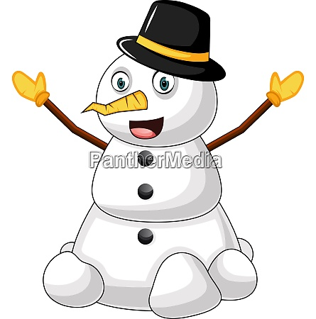 snowman with hat illustration vector on