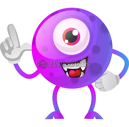 purple monster showing wtih his hand