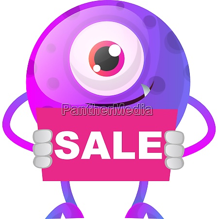 purple monster holding pink sale sign