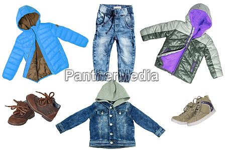 collage set von kinder kleidung jeans