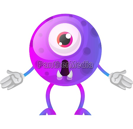 purple monster wondering what happened illustration