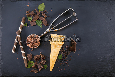 chocolate ice cream in scoop with