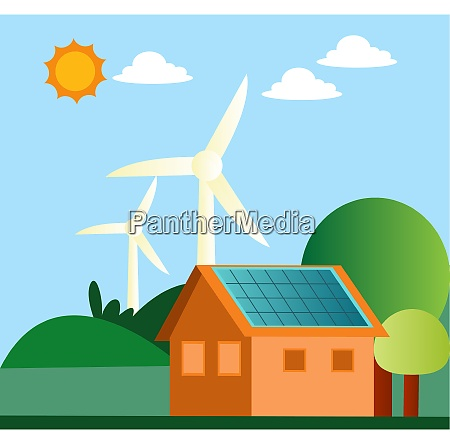 illustration of windmill and solar panels