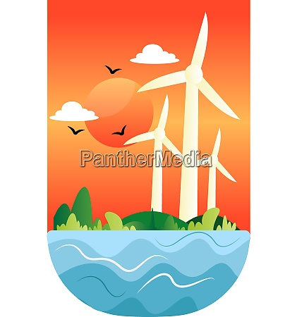 illustration of windmills at a sunset
