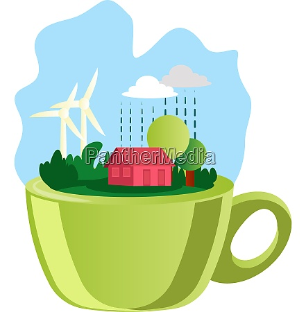 illustration of a green cup and