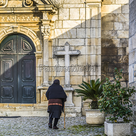 senior, woman, approaching, a, church;, lamego - 26932130