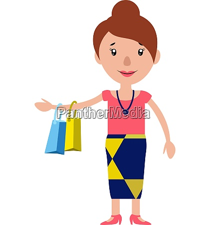 a smiling woman returning from shopping