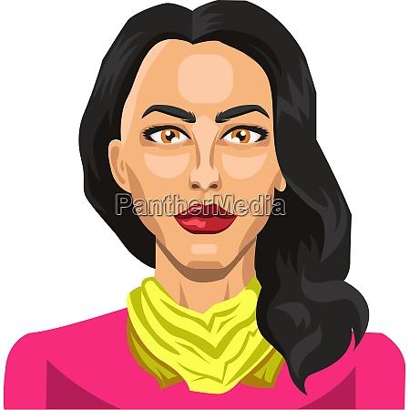 girl with long black hair illustration