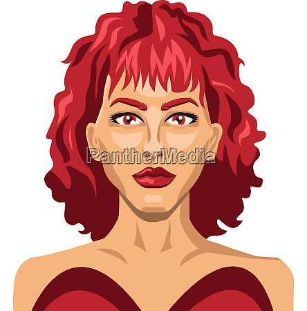 sexy girl with red hair illustration