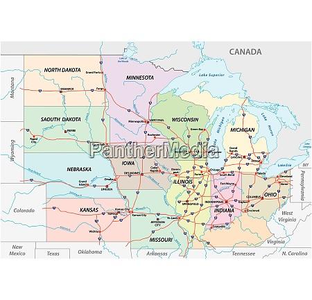 karte des mittleren westens vereinigte staaten