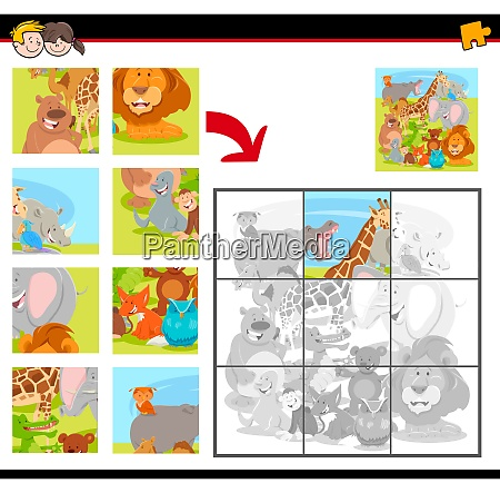 jigsaw puzzles with cartoon happy animals