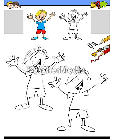 drawing and coloring worksheet with boy