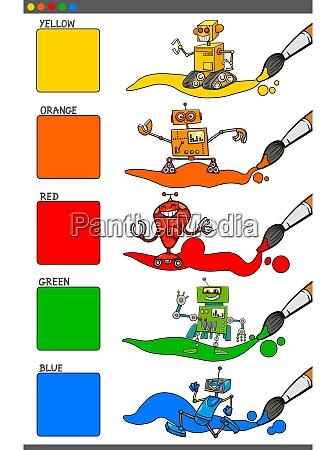 basic colors set with cartoon robots