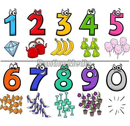 educational cartoon numbers set with objects