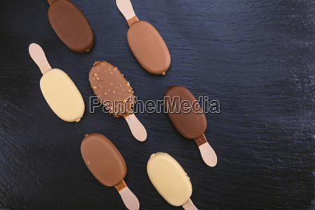 ice cream on stick covered with