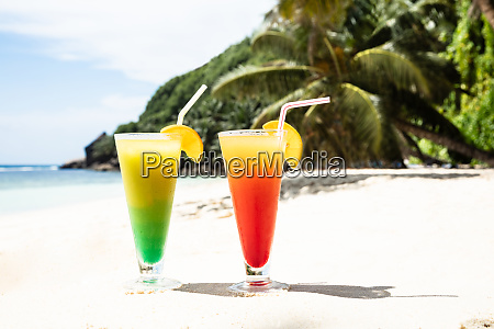 glasses of fresh cocktail on the