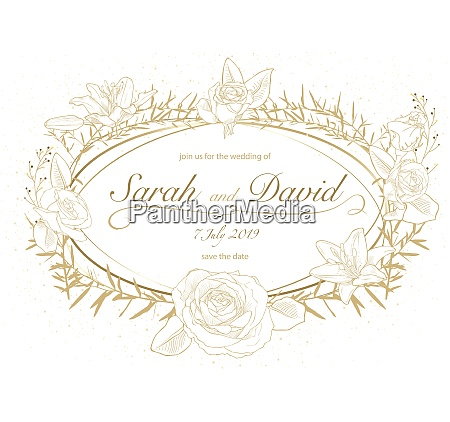 floral wedding invitation in golden color