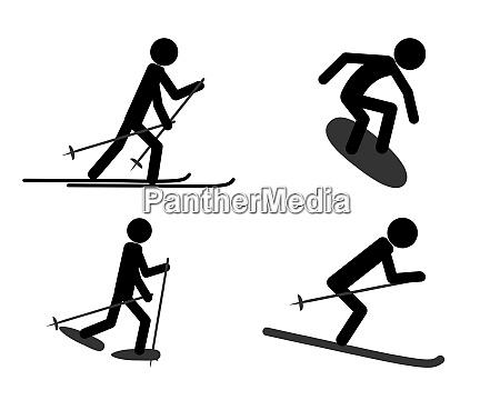 piktogramm verschiedener sportlicher aktivitaeten im winter