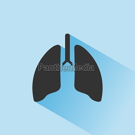 lungensymbol mit schatten auf blauem hintergrund