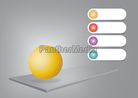 3d schreibtisch infografik vektor mit goldener