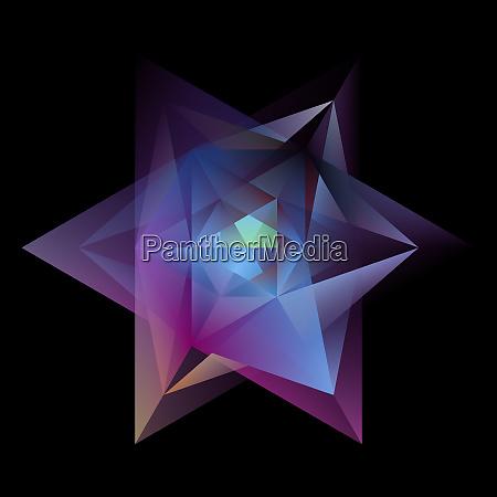 abstrakte gluehende multicolor hexagramm isoliert auf