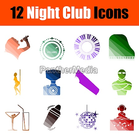 night club icon set