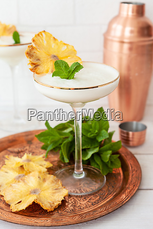 exotic cocktail with dried pineapple