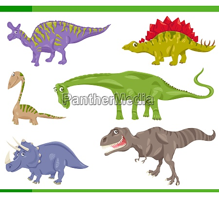 dinosaurs species set cartoon illustration
