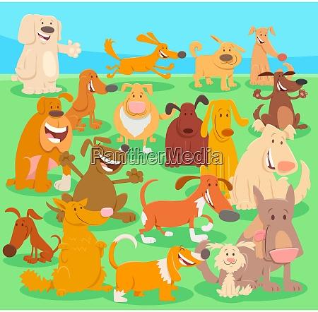 hunde zeichentrickfiguren grosse gruppe