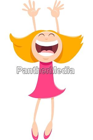 happy girl cartoon comic character