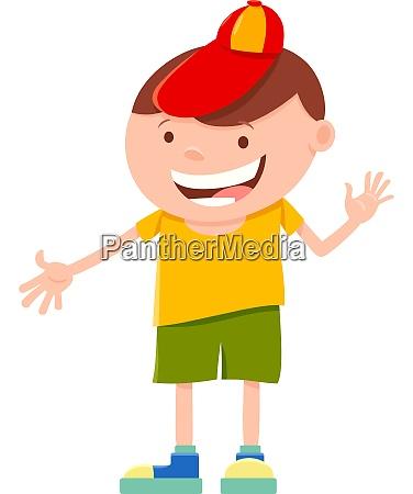happy elemntary age boy cartoon character