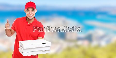pizza delivery latin man order delivering