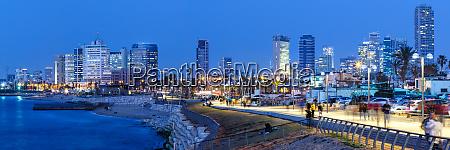 tel aviv skyline panorama israel blue