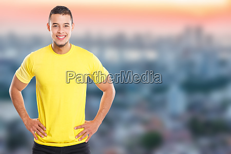 young latin man smiling happy portrait